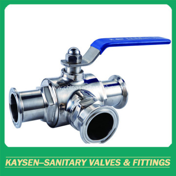 Sanitary Ball Valve Three Way Clamped ISO/IDF/SMS/3A/DS
